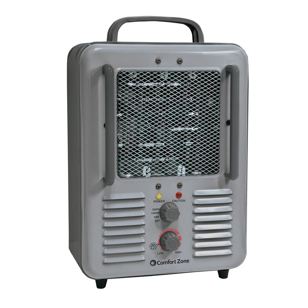 1,500-Watt Milk house Style Fan Electric Portable Heater - Gray