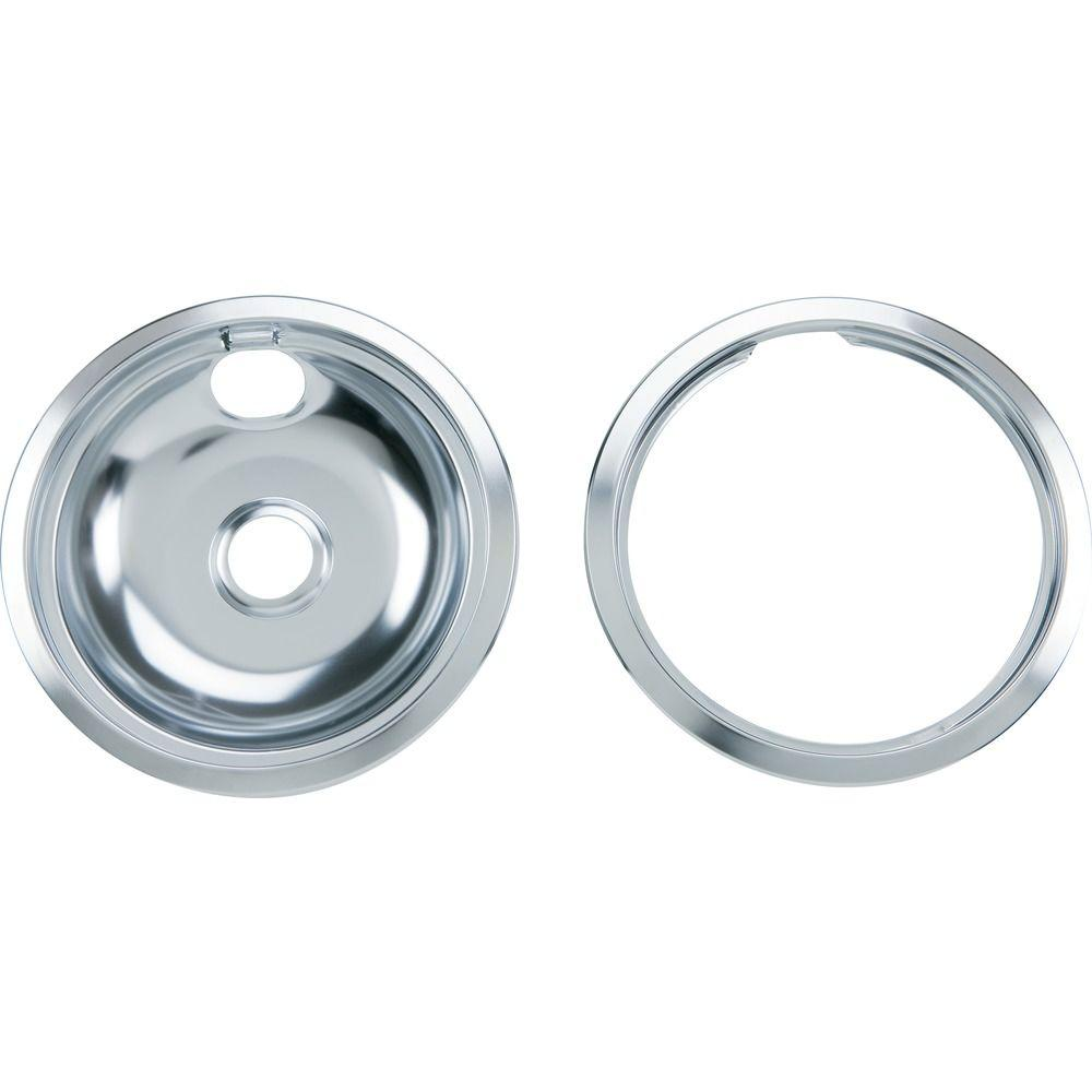 GE 8 in. Chrome Pan with Trim Ring Combo Set for GE and Hotpoint Ranges