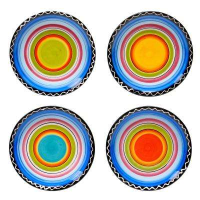 Tequila Sunrise 6.25 in. Multi-Colored Canape Plate (Set of 4)
