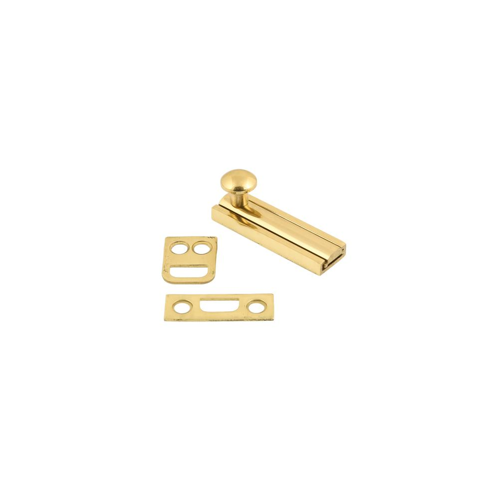2 in. Solid Brass Surface Bolt in Polished Brass