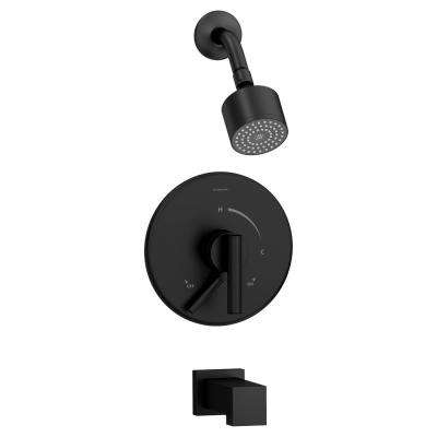 Dia Single-Handle 1-Spray Tub and Shower Faucet in Matte Black (Valve Included)