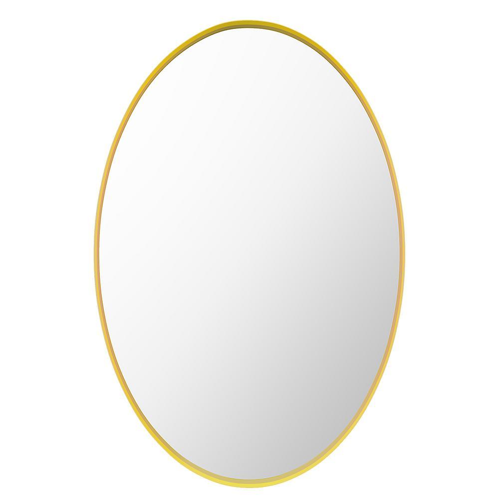 Katrina 30 in. W x 20 in. H Framed Oval Craft Bathroom Vanity Mirror in Gold