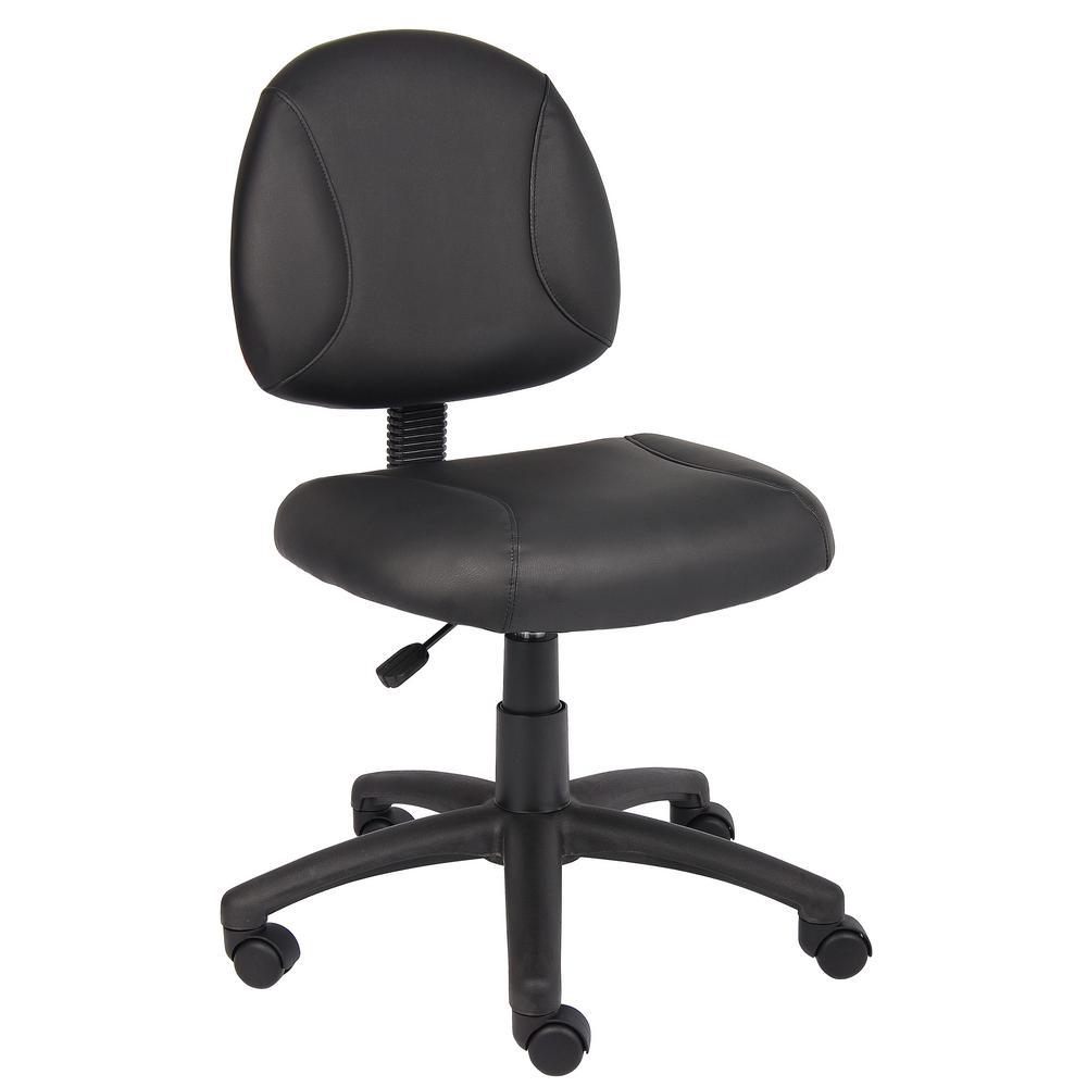 Black LeatherPlus Armless Leather Task Chair
