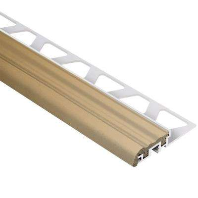 Trep-S Aluminum with Light Beige Insert 3/8 in. x 8 ft. 2-1/2 in. Metal Stair Nose Tile Edging Trim