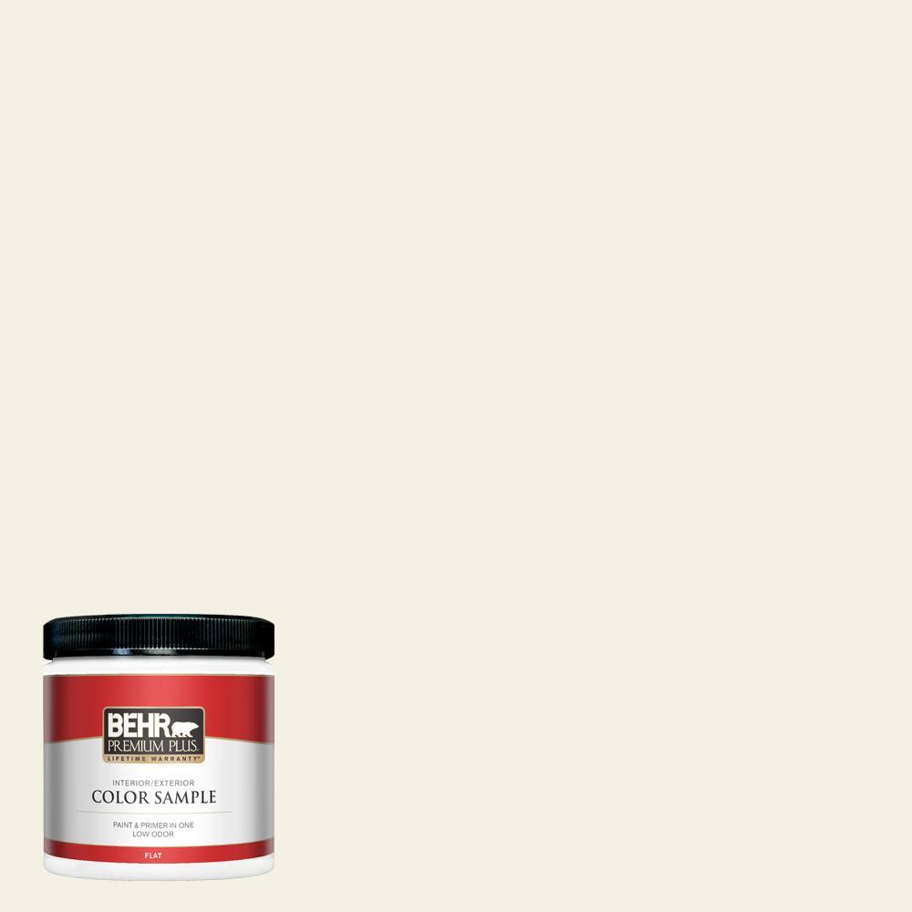 BEHR PREMIUM PLUS 8 oz. #BWC-07 Cotton Blossom Flat Interior/Exterior Paint and Primer in One Sample