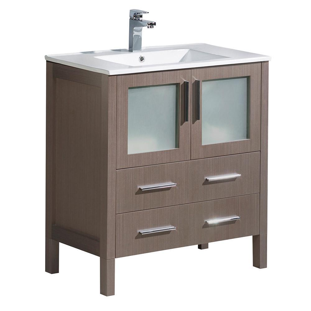 Torino 30 in. Bath Vanity in Gray Oak with Ceramic Vanity