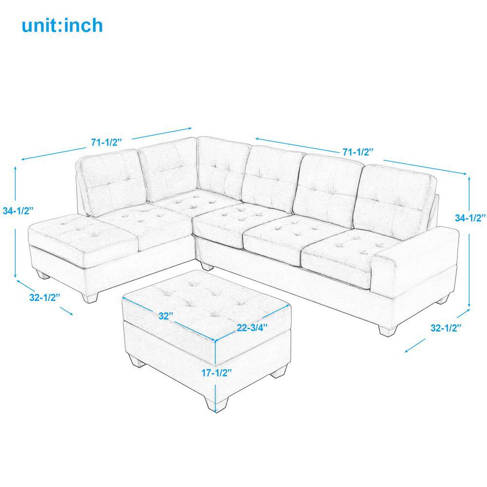 Fine Harper Bright Designs Grey 3 Piece Microfiber Sectional Machost Co Dining Chair Design Ideas Machostcouk