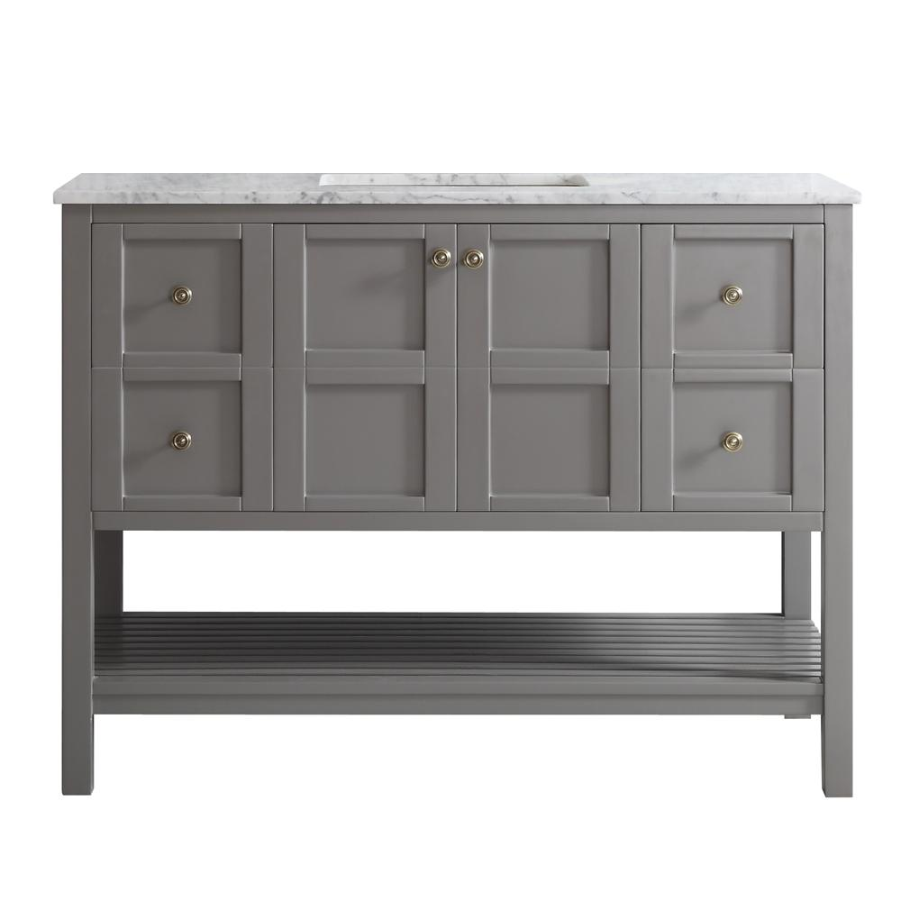 Vinnova Florence 48 in. W x 22 in. D x 35 in. H Vanity in Grey with Marble Vanity Top in White with Basin
