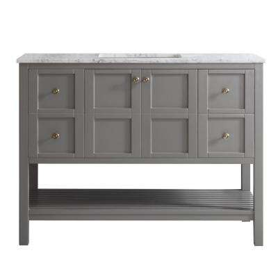 Florence 48 in. W x 22 in. D x 35 in. H Vanity in Grey with Marble Vanity Top in White with Basin