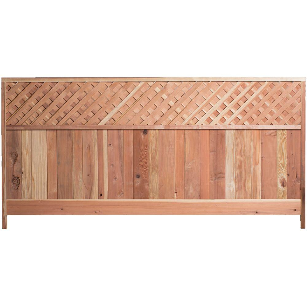 4 ft. H x 8 ft. W Redwood Lattice Top Fence