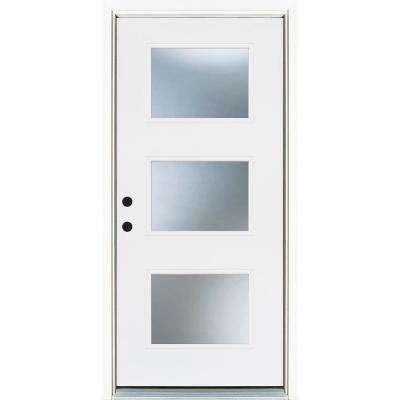 36 in. x 80 in. Smooth White Right-Hand Inswing 3-Lite Frosted Finished Fiberglass Prehung Front Door