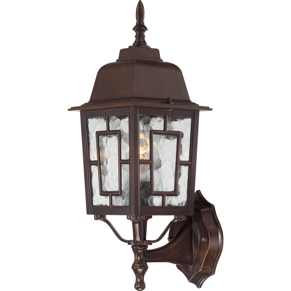 Large Rustic Finish Lantern Wall Mounted Light Sconce: Filament Design 1-Light Rustic Bronze Outdoor Wall Mount