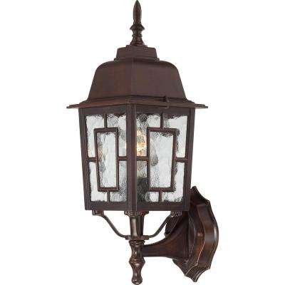1-Light Rustic Bronze Outdoor Wall Mount Lantern