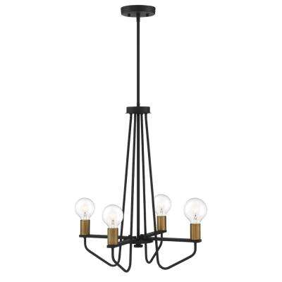 Ravella 4-Light Black Interior Chandelier