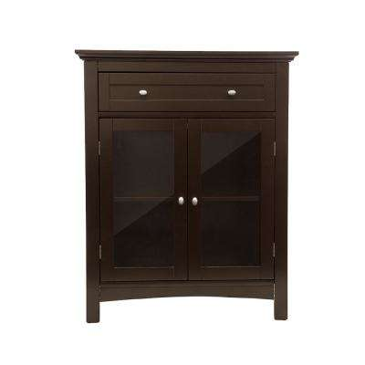 Espresso Wooden Free Standing Storage Cabinet with Drawer and Glass Double Doors