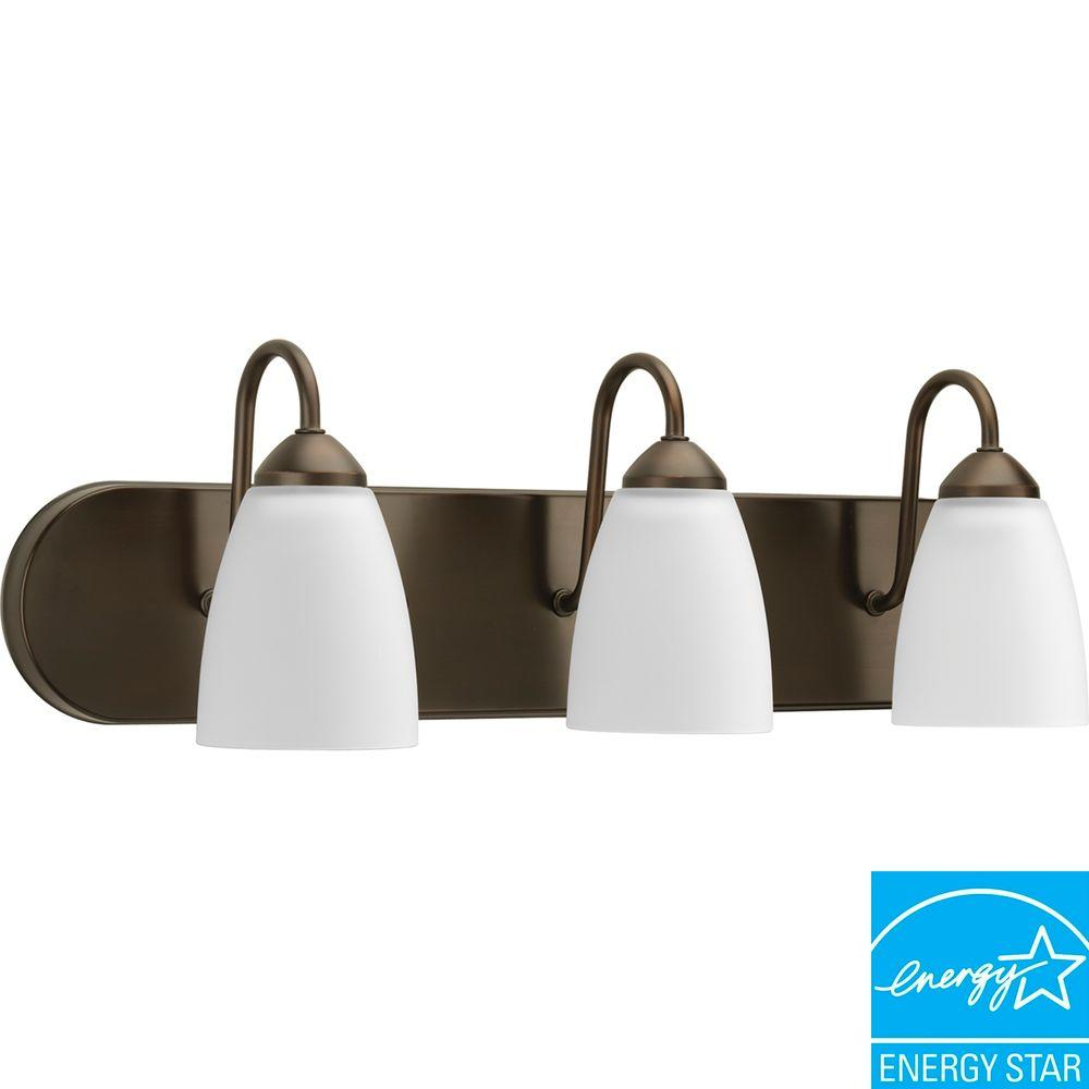 Progress Lighting Gather Collection 3-Light Antique Bronze Fluorescent Vanity Light with Etched Glass Shades