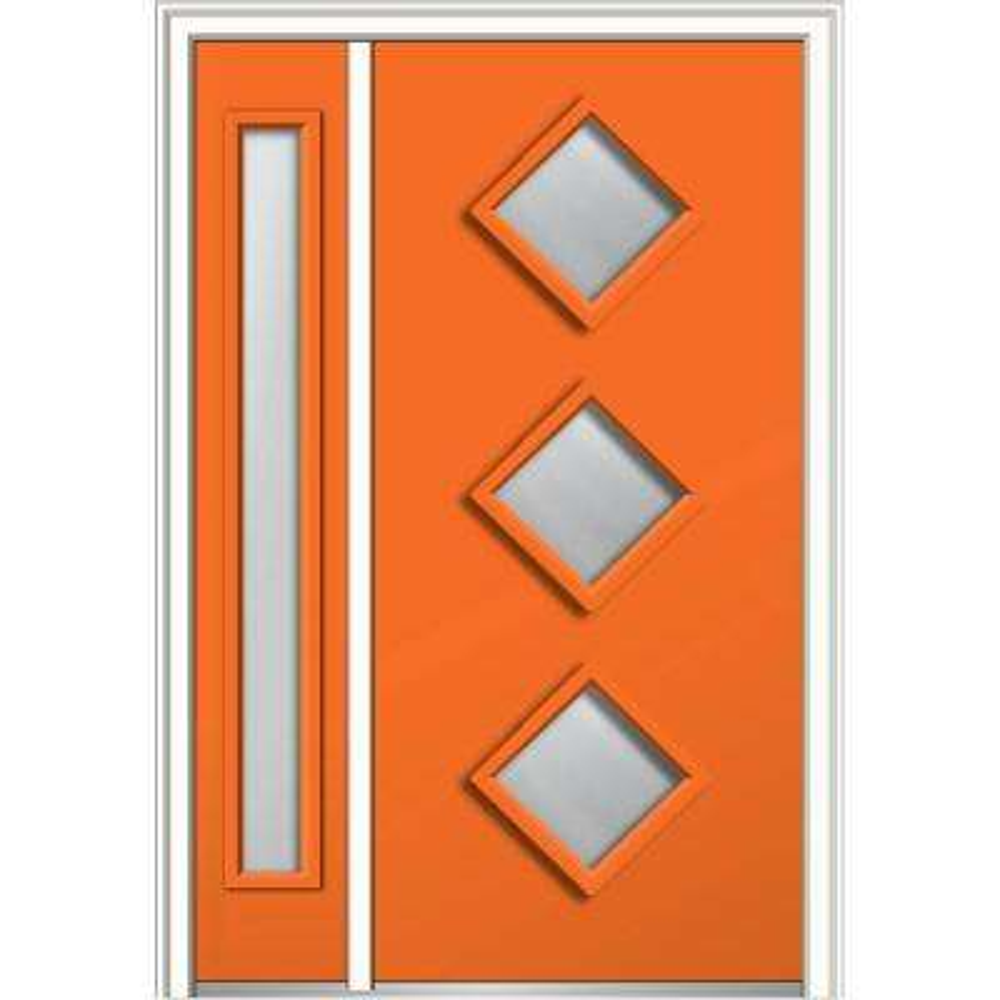 50 in. x 80 in. Aveline Low-E Glass Left-Hand 3-Lite Midcentury Painted Steel Prehung Front Door with Sidelite