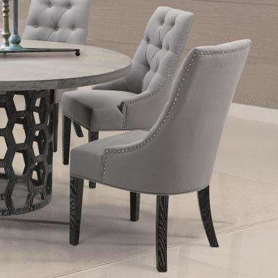Centennial 40 in. Gray Linen Fabric and Black Wood Finish Dining Chair (Set of 2)