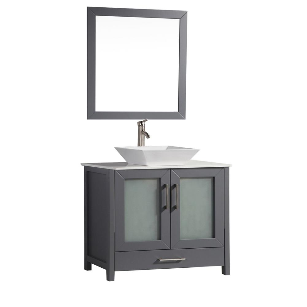 MTD Vanities Jordan 30 in. W x 18.5 in. D x 36 in. H Vanity in Grey with Quartz Vanity Top in Off-White with White Basin and Mirror