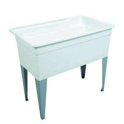 BigTub 40 in. x 24 in. x 33 in. Polypropylene Floor Mount Utility Tub in White