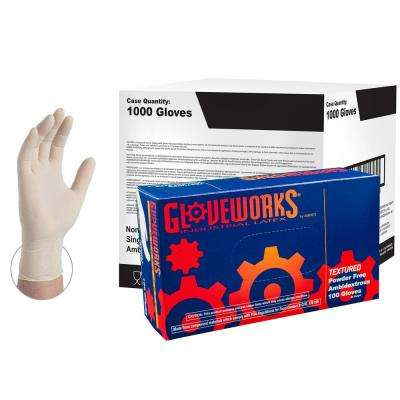 Ivory Latex Industrial Powder-Free Disposable Gloves (10-Boxes of 100-Count) - Large