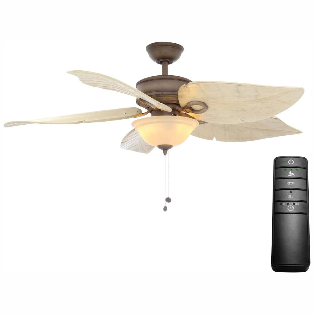 Hampton Bay Costa Mesa 56 in. LED Weathered Zinc Ceiling Fan with Light Kit and Remote Control
