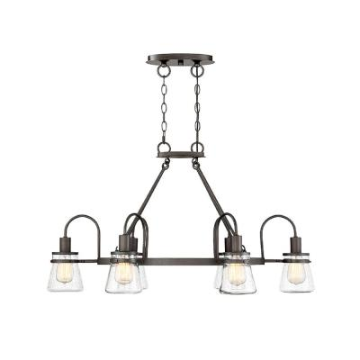 6-Light English Bronze Outdoor Hanging Chandelier
