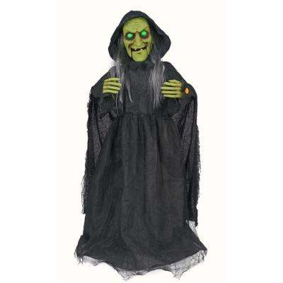 36 in. Animated Standing Witch with LED Illuminated Eyes