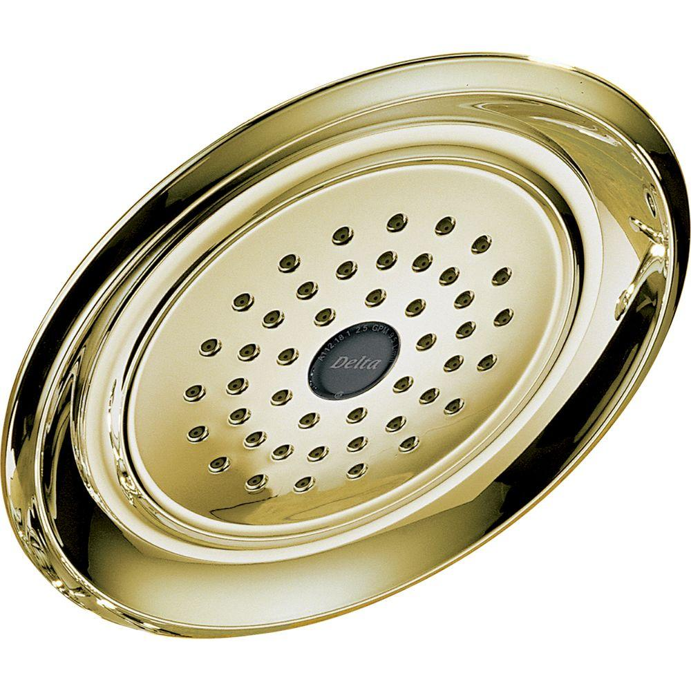 Delta 1-Spray 7.43 in. Fixed Shower Head in Polished Brass