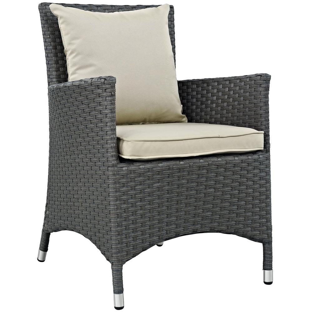 Sojourn Patio Wicker Outdoor Dining Chair with Sunbrella Antique Canvas Beige