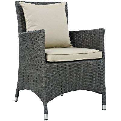 Sojourn Patio Wicker Outdoor Dining Chair with Sunbrella Antique Canvas Beige Cushions