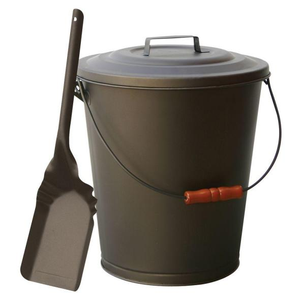 Bronze Finish Large Capacity Ash Bin with Lid and Shovel