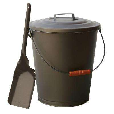 Bronze Finish Ash Bin with Lid and Shovel