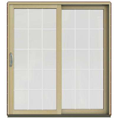 71-1/4 in. x 79-1/2 in. W-2500 Mesa Red Prehung Right-Hand Clad-Wood Sliding Patio Door with 15-Lite Grids