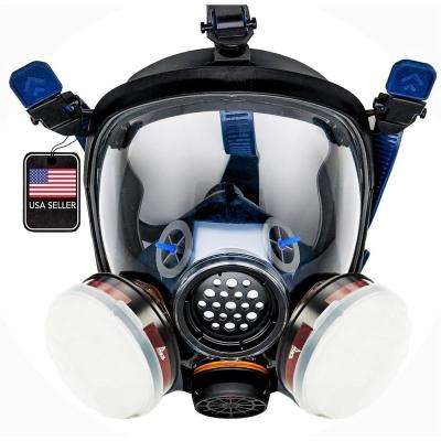 Full Face Organic Vapor Respirator and Gas Mask with 2 Threaded P-A-1 Replacement Filters