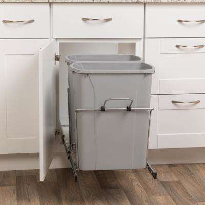 18 13 16 In H X 14 3 8 In W X 22 In D 35 Qt In Cabinet Double Soft Close Bottom Mount Pull Out Trash Can