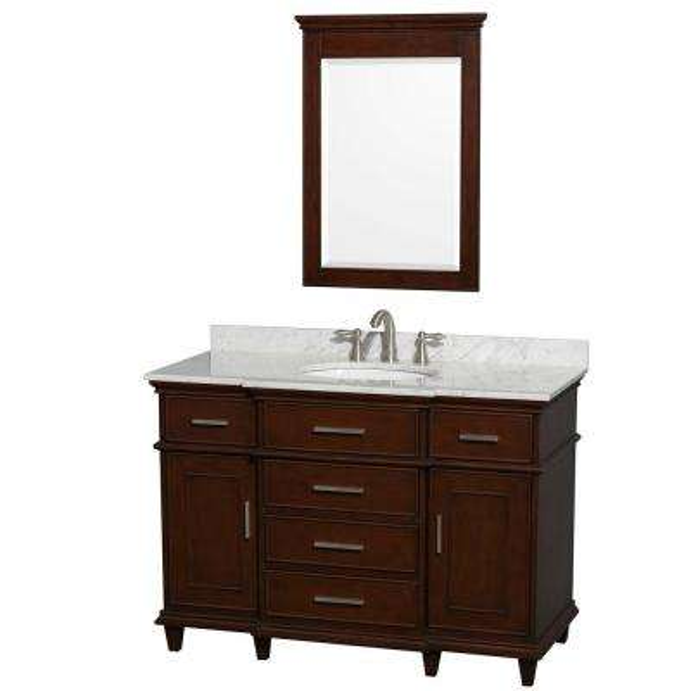 Berkeley 48 in. Vanity in Dark Chestnut with Marble Vanity Top in Carrara White, Oval Sink and 24 in. Mirror