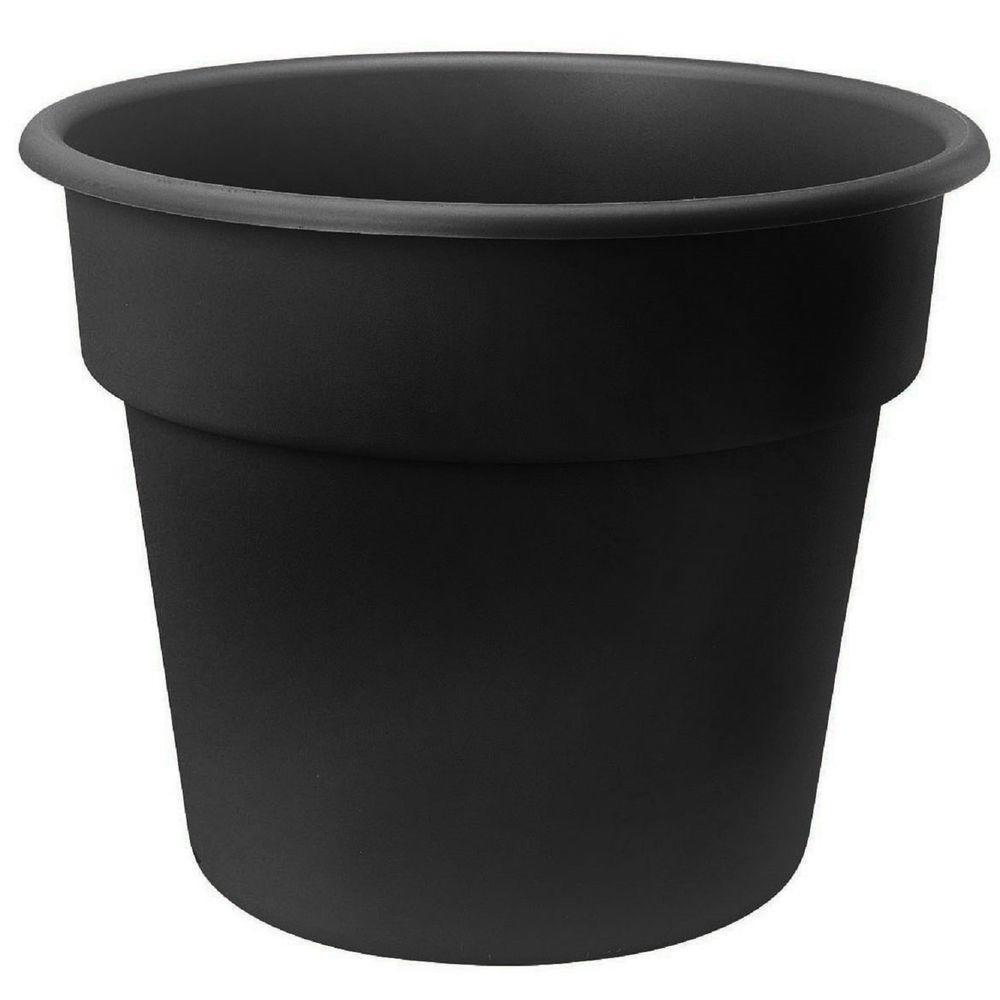 Bloem 16 in. Black Dura Cotta Plastic Planter