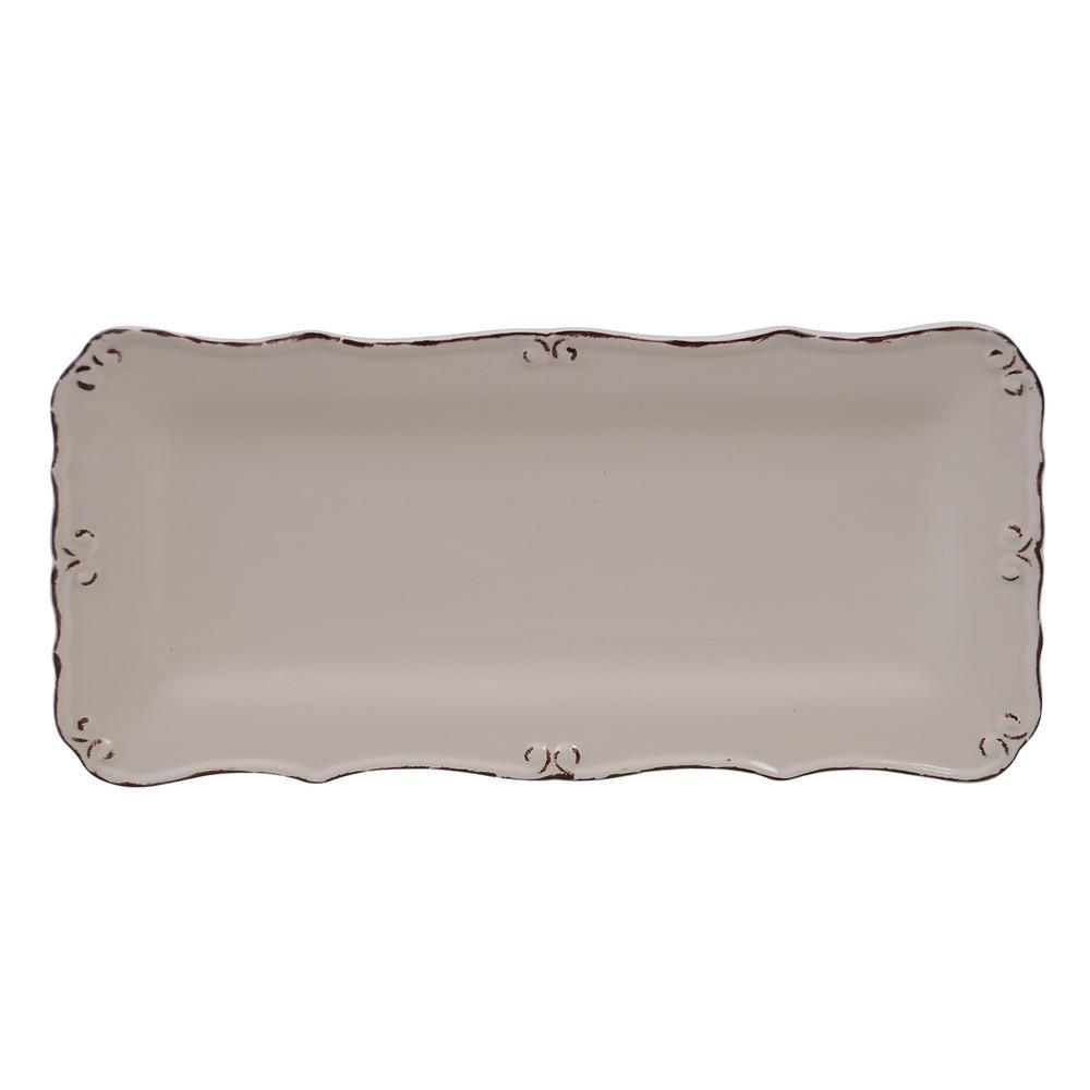 Vintage Cream Ceramic Bread Tray