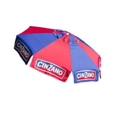 Cinzano 8 ft. Aluminum Manual Tilt Beach and Patio Umbrella in Red and Blue