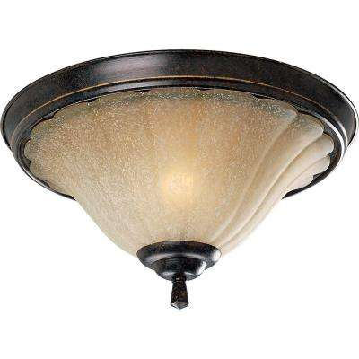 Le Jardin 15 in. 2-Light Espresso Flushmount with Weathered Sandstone Glass