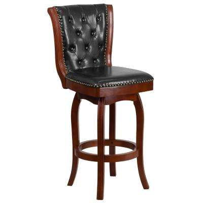30 in. High Cherry Wood Barstool with Button Tufted Back and Black Leather Swivel Seat