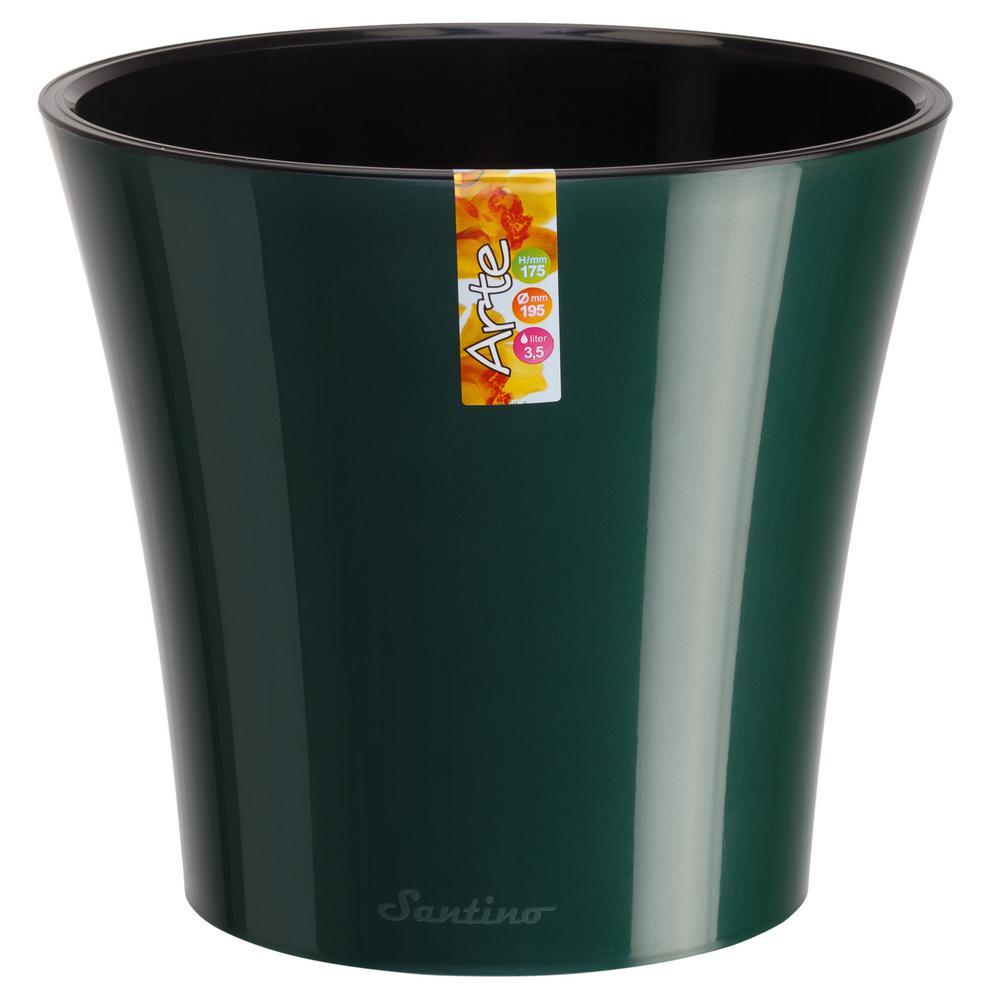 Arte 5.3 in. Green/Black Plastic Self Watering Planter