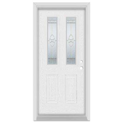 33.375 in. x 83 in. Traditional Left-Hand 2-Lite Brass Finished Fiberglass Oak Woodgrain Prehung Front Door Brickmould