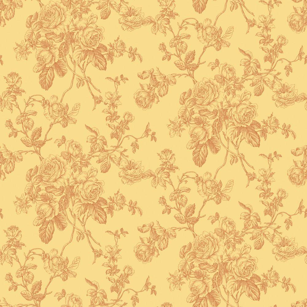56 sq. ft. Yellow And Orange Lacey Rose Toile Wallpaper