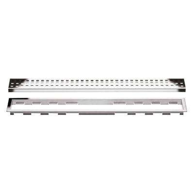 Kerdi-Line Chrome 35-7/16 in. Perforated Grate Assembly with 3/4 in. Frame