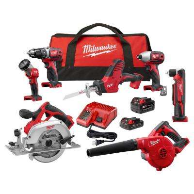 M18 18-Volt Lithium-Ion Cordless Combo Kit (7-Tool) w/(2) Batteries, Charger, (1) Tool Bag