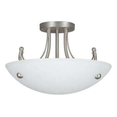 Fiscus 2-Light Satin Nickel Semi Flushmount