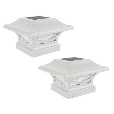 Kingsbridge Solar White Outdoor Integrated LED Dual Lighted Post Cap (2-Pack)