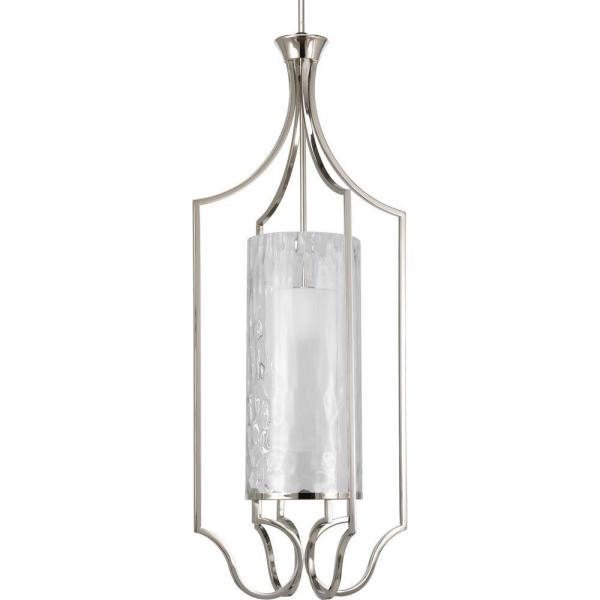 Progress Lighting Caress Collection 1-Light Polished Nickel Foyer Pendant